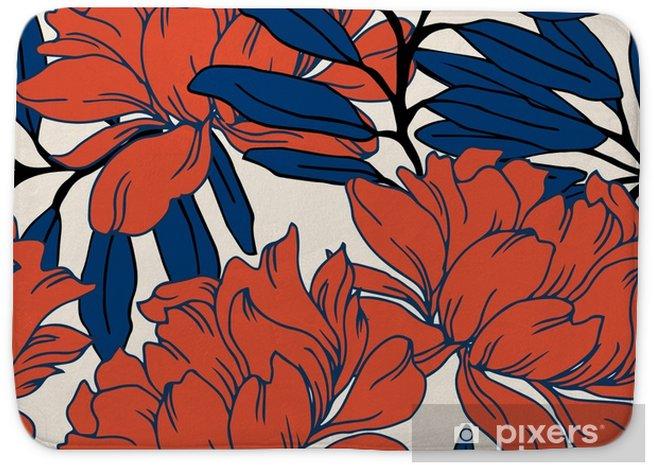 Badmatta Abstrakt elegans mönster med blommig bakgrund. - Växter & blommor