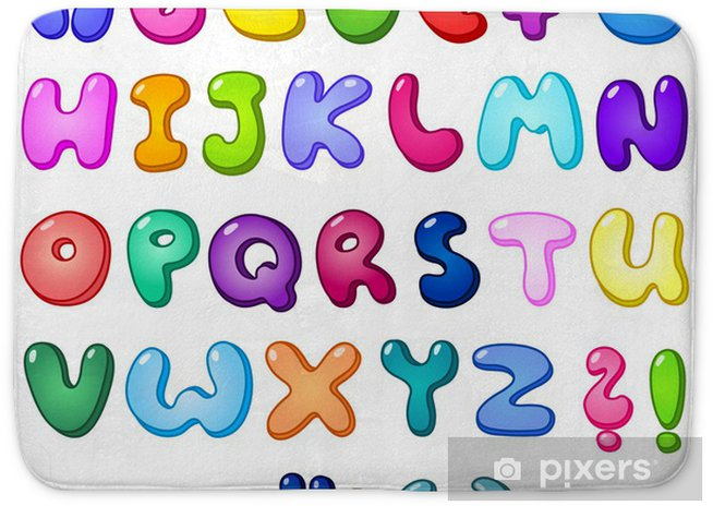 3d bubble alphabet Bath Mat