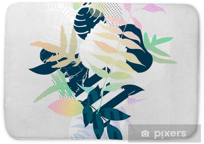 Abstract colorful botanical composition Bath Mat - Plants and Flowers