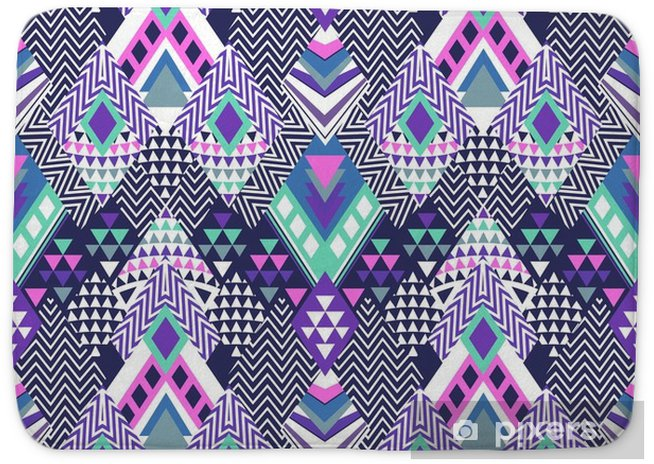 abstract geo shapes in zigzag design - seamless background Bath Mat