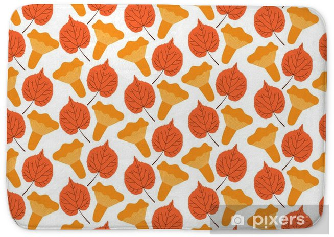 Autumn Forest Pattern Vector Seamless Chanterelles Mushrooms And Aspen Leaves Background Fall Colorful Print For Seasonal Banner Kids Wallpaper