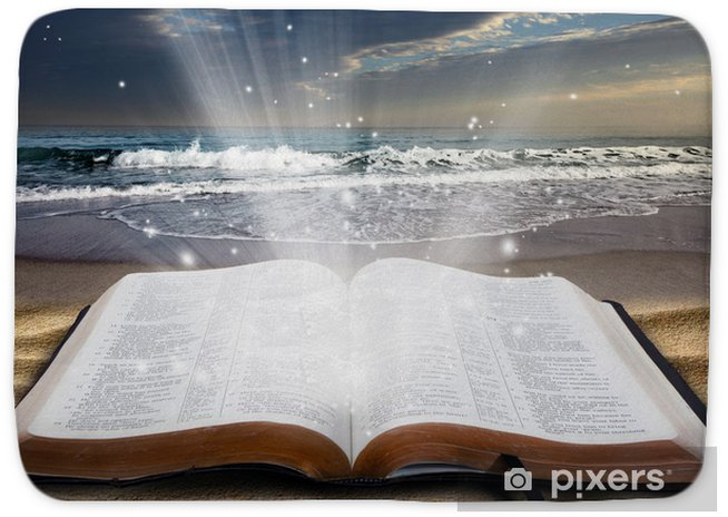Bible at beach Bath Mat