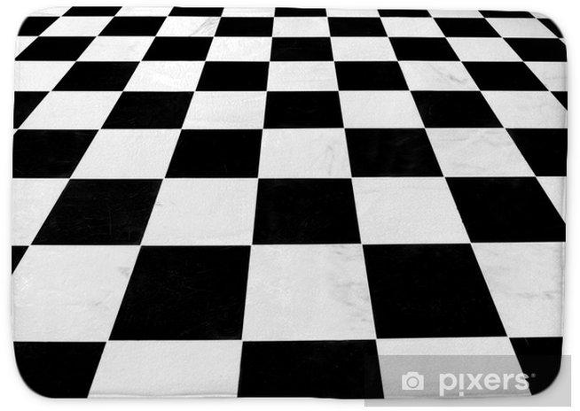 Black And White Checkered Linoleum Floor Receding Bath Mat Istaging
