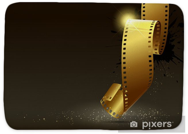 Camera Film Roll Gold Color Vector Illustration Bath Mat