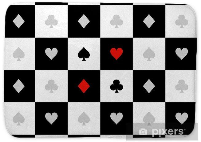 Card Suits Black White Chess Board Diamond Background Vector Illustration  Bath Mat