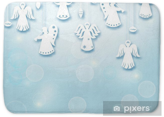 Angels Christmas Background.Christmas Background Angels Paper Cut Style In Vector Bath Mat