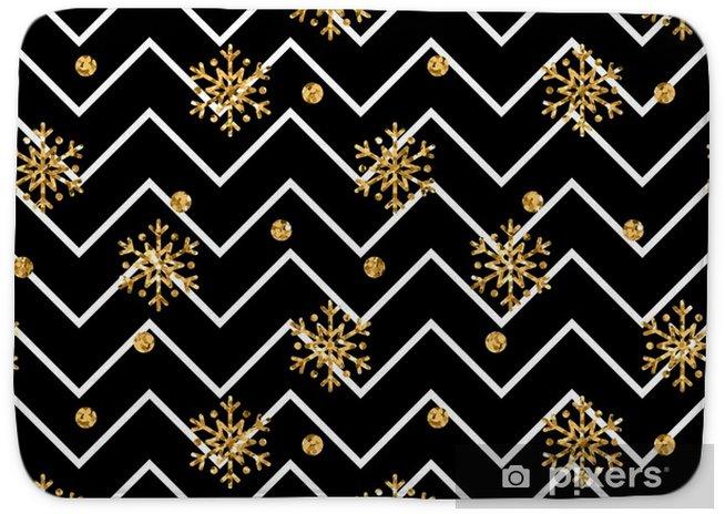 Christmas Gold Snowflake Seamless Pattern Golden Glitter Snowflakes On Black And White Zig Zag Background Winter Snow Design Wallpaper Symbol