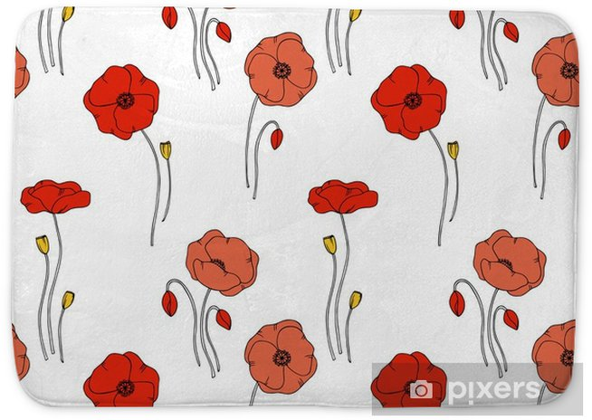 Color Vector Simple Illustration Of Decorative Poppy Flower Pattern On White Background Bath Mat