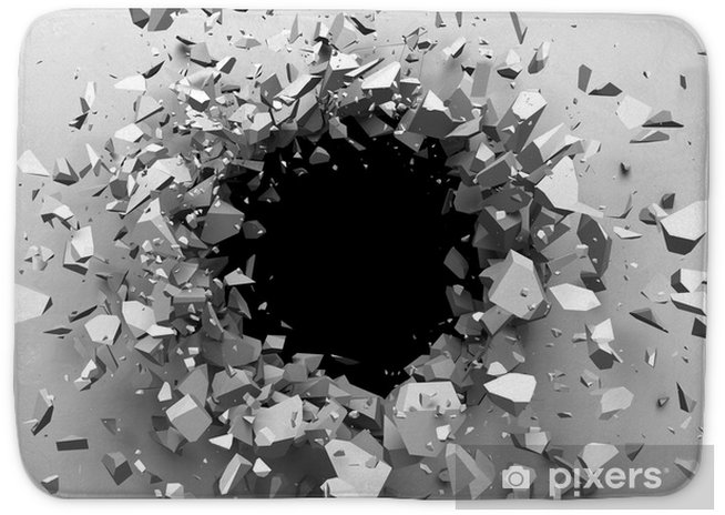 Cracked concrete wall with bullet hole  Destruction Abstract background  3D  render illustration Bath Mat