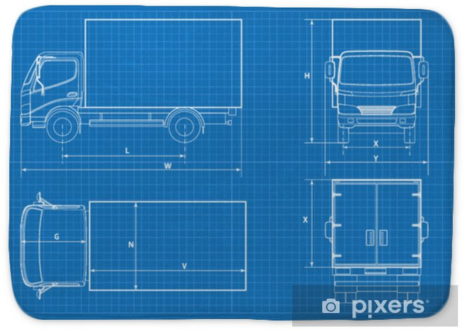Delivery truck schematic or VAN car blueprint  Vector illustration  Truck  car in outline  Business vehicle template vector  View front, rear, side,