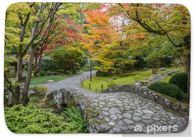 Fall Foliage Stone Bridge Japanese Garden Bath Mat Pixers We Live To Change