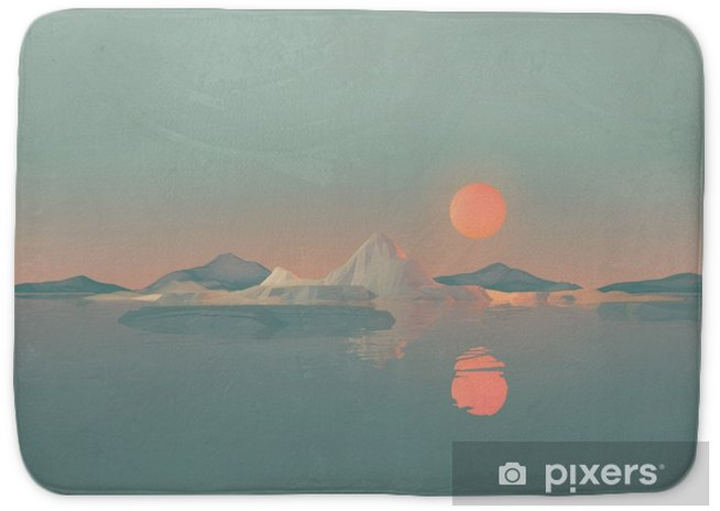 Geometric Mountain Landscape with Sun Reflecting on Water Bath Mat - Landscapes