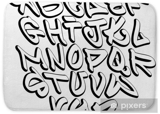 Graffiti font alphabet letters  Hip hop type grafitti design Bath Mat
