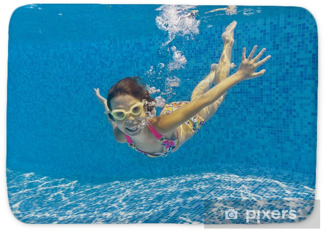 Happy smiling underwater kid in swimming pool Bath Mat