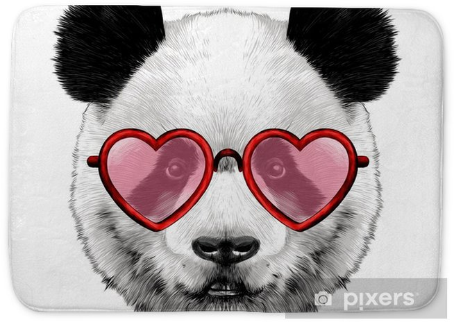 head Panda with glasses in heart shape sketch vector graphics color picture Bath Mat - Culture and Religion