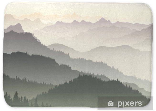 Horizontal illustration of twilight in forest hills. Bath Mat - Landscapes