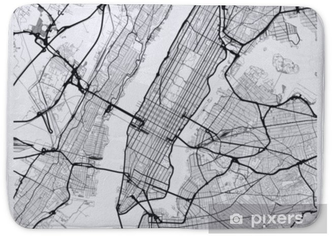 New York Map Black And White.Light Manhattan New York Map Road Map Of Manhattan Nyc Black