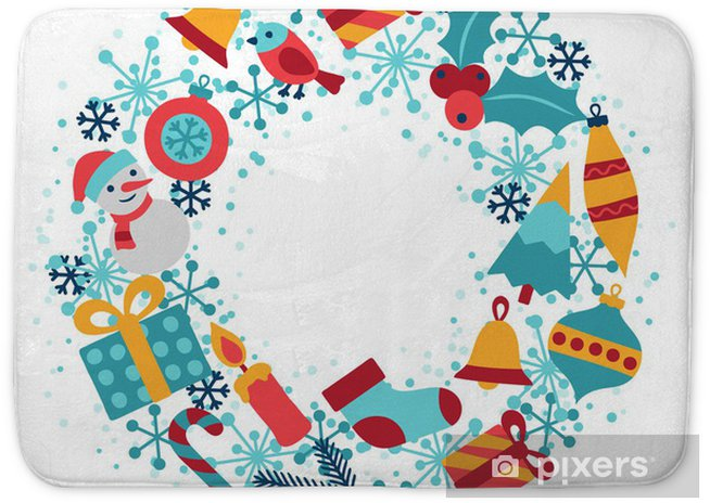 merry christmas and happy new year invitation card bath mat