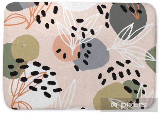 Modern abstract pattern collection. Hero pattern with brush strokes, shapes and floral elements. Trendy pastel colors. Minimalist digital. Fabric print, wrapping paper, poster, flyer, banner design. Bath Mat - Hobbies and Leisure