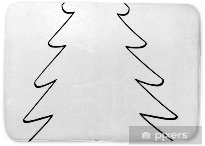 Outline Cartoon Christmas Tree Bath Mat Pixers We Live To Change
