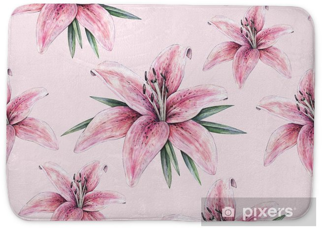 Pink Lily Flowers Isolated On Pink Background Watercolor Handwork Illustration Drawing Of Blooming Lily With Green Leaves Seamless Pattern With Lilies For Design Bath Mat Pixers We Live To Change