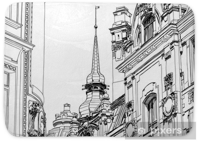 Prague Czech Republic Architectural Drawing Of The Historic D