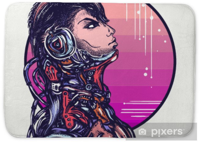 Robot Man In Headphones Listening To Music T Shirt Design Cyberpunk Art Portrait Of Biomechanical Soldier People Of Future Bath Mat