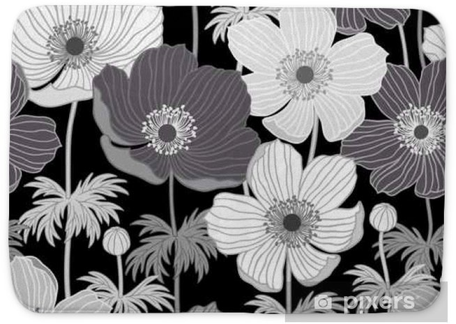 seamless floral pattern with anemone in monochrome Bath Mat - Plants and Flowers