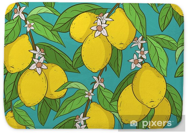 Seamless Pattern With Lemons Cute Vector Backround Cartoon Style Lemon Branches Citrus Collection Very Colorful And Bright Wallpapers Fabric