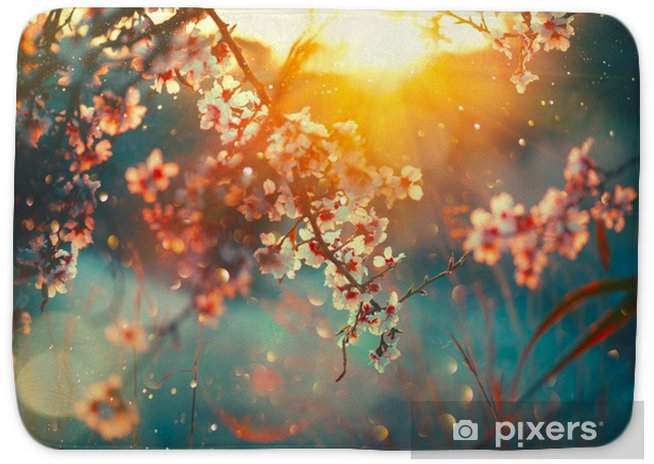 Spring Blossom Background Nature Scene With Blooming Tree And Sun Flare Spring Flowers Beautiful Orchard Bath Mat