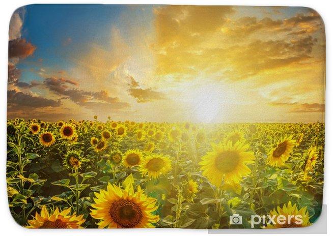 Summer Landscape Beauty Sunset Over Sunflowers Field Bath Mat Pixers We Live To Change