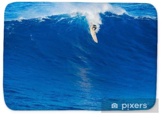Surfer Riding Giant Wave Bath Mat