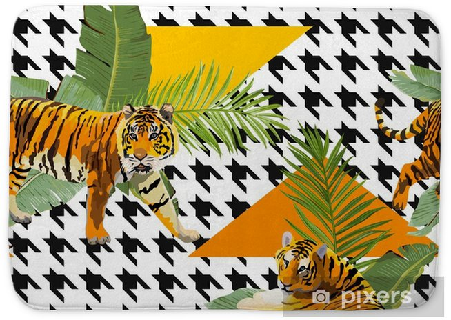 Tigers In Tropical Flowers And Palm Leaves Background