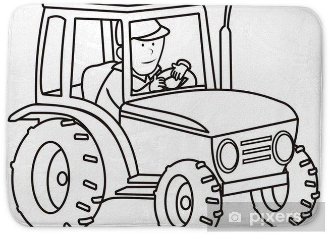 tractor - coloring book Bath Mat