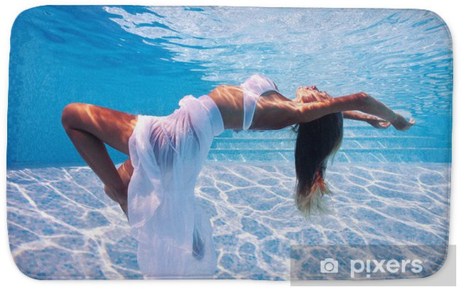 Underwater woman fashion portrait in swimming pool. Bath Mat