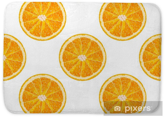 Vector seamless pattern of orange slice  Realistic citrus background Bath  Mat