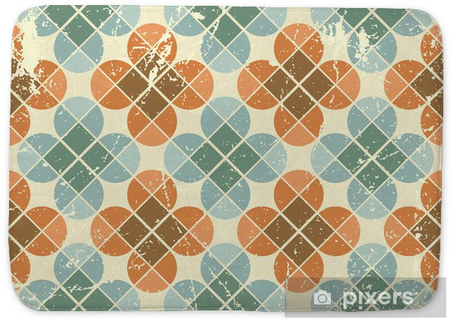 Vintage flower tiles with grunge texture seamless background Bath Mat