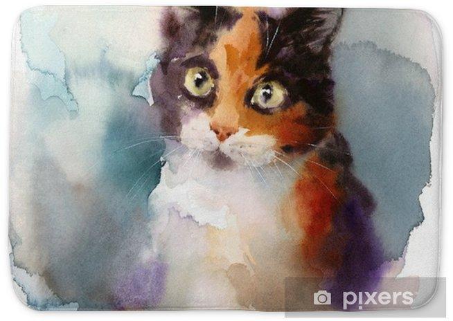 Watercolor Calico Cat Hand Drawn Pet Portrait Illustration Bath Mat