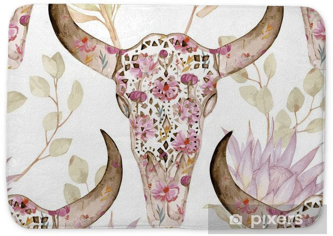 Watercolor seamless pattern with skull in flowers, protea. Floral decoration, vector illustration Bath Mat - Graphic Resources