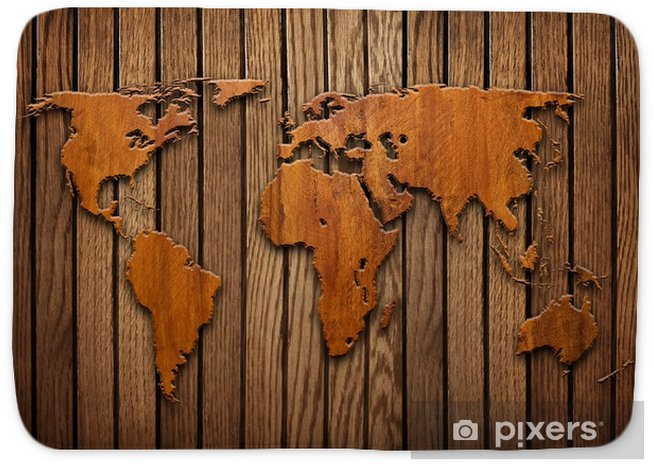 world map carving on wood plank Bath Mat