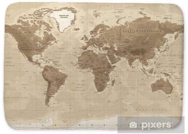 World Map Physical Vintage - vector Bath Mat - Travel