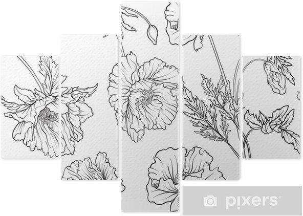 Botanik Süslü Tarzda Haşhaş çiçekleri Ile Dikişsiz Desen Anahat El