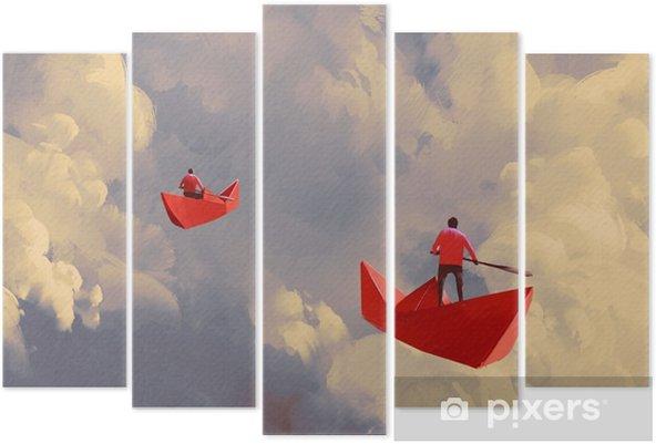 Bulutlu Gokyuzu Resimde Boyama Yuzen Origami Kirmizi Kagit Tekne