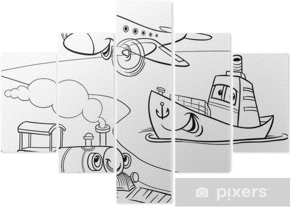 Düzlem Gemi Tren Karikatür Boyama Beş Parçalı Pixers Haydi