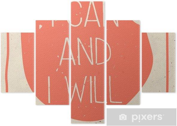 Beş Parçalı El yazılı teklif ile Afiş, grunge turuncu arka plan - İş dünyası