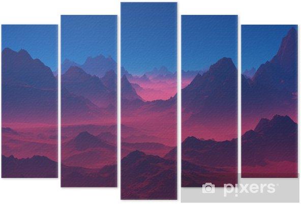 Beş Parçalı Gün batımında dağlar - Manzaralar