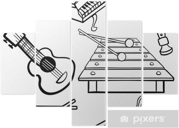 Karikatür Müzik Aletleri Boyama Beş Parçalı Pixers Haydi