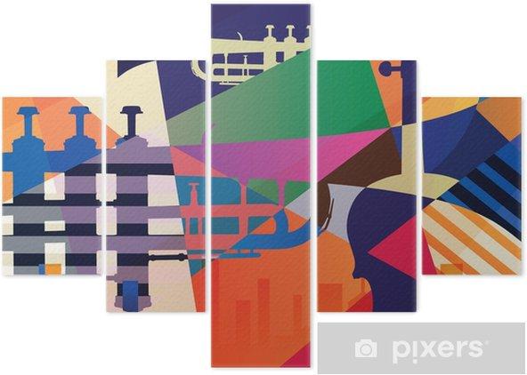 Beş Parçalı Soyut caz afişi, müzik arka plan - Grafik kaynakları