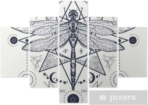 Yusufçuk Dövme Elle çizilmiş Mistik Semboller Ve Böcekler Beş