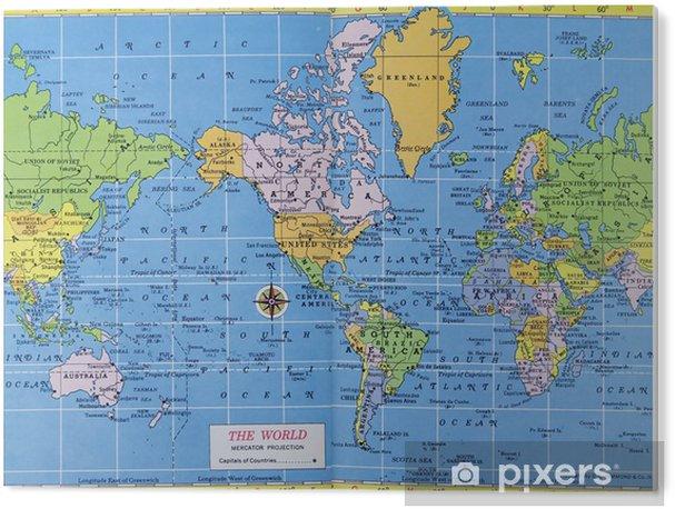 Bild Auf Acrylglas Weinlese Weltkarte Mercator Projektion